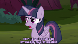 Size: 1280x720 | Tagged: safe, edit, edited screencap, screencap, mean twilight sparkle, alicorn, pony, the mean 6, caption, clone, female, folded wings, image macro, mare, meme, text, wings