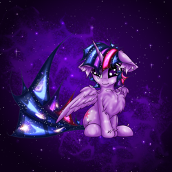 Size: 2500x2500 | Tagged: safe, artist:rurihal, twilight sparkle, alicorn, pony, chest fluff, ear fluff, ethereal mane, floppy ears, solo, space, starry mane, stars, twilight sparkle (alicorn)