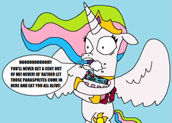 Size: 1033x741 | Tagged: safe, artist:logan jones, princess celestia, alicorn, cash register, foaming at the mouth, greedy, implied parasprite, overprotective, sandy spongebob and the worm, scared, shrunken pupils, spongebob squarepants, sugar cube cash register, toy, wide eyes