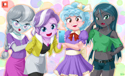Size: 1400x854   Tagged: safe, artist:uotapo, cozy glow, diamond tiara, queen chrysalis, silver spoon, equestria girls, belly button, belt, blue eyes, blushing, braided ponytail, cellphone, clothes, compression shorts, cozybetes, cute, cute little fangs, cutealis, denim shorts, diamondbetes, dress, equestria girls-ified, fangs, glasses, hand on hip, iphone, jewelry, laughing, legs, looking at you, midriff, necklace, open mouth, phone, sexy, short shirt, shorts, side slit, silverbetes, skirt, thighs, young, younger