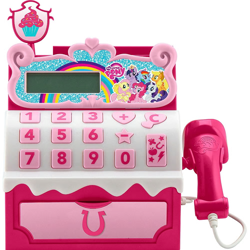 Size: 1000x1000 | Tagged: safe, applejack, fluttershy, pinkie pie, rainbow dash, rarity, twilight sparkle, alicorn, earth pony, pegasus, pony, unicorn, cash register, cupcake, food, lcd, mane six, minus sign, my little pony logo, numbers, obscure, official, plus sign, rainbow, scanner, simple background, sugar cube cash register, toy, twilight sparkle (alicorn), white background
