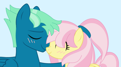 Size: 3680x2028 | Tagged: safe, artist:melimoo2000, fluttershy, sky stinger, pegasus, pony, base used, blushing, couple, eyebrows, eyes closed, female, fluffy mane, folded wings, holding, husband and wife, male, mane highlights, mare, mare and stallion, nuzzling, shipping, simple background, stallion, tail, tied mane, wings