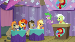 Size: 1920x1080   Tagged: safe, screencap, applejack, cranky doodle donkey, doctor whooves, granny smith, spike, sunburst, time turner, dragon, a trivial pursuit, spoiler:s09e16, winged spike
