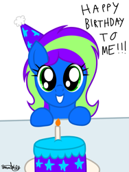 Size: 901x1200 | Tagged: safe, artist:therealdavid09, oc, oc only, oc:novastar blaze, pegasus, birthday, birthday cake, birthday gift, birthday gift art, cake, candle, cute, female, food, hat, mare, party hat, pegasus oc, signature, text