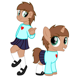 Size: 3000x3000 | Tagged: safe, artist:peternators, oc, oc:heroic armour, human, pony, unicorn, boy, clothes, colt, crossdressing, cute, humanized, looking at each other, male, mary janes, miniskirt, pleated skirt, self paradox, self ponidox, shoes, simple background, skirt, socks, sweater, thumbs up, transparent background