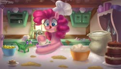 Size: 2500x1429 | Tagged: safe, artist:enderselyatdark, gummy, pinkie pie, earth pony, pony, apple slice, batter, cake, cooking, cute, flour, food, kitchen, tongue out