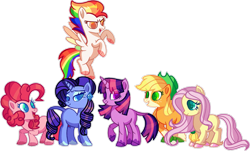 Size: 1280x773 | Tagged: safe, artist:greenmarta, applejack, fluttershy, pinkie pie, rainbow dash, rarity, twilight sparkle, earth pony, pegasus, pony, unicorn, leak, spoiler:g5, applejack (g5), colored wings, earth pony fluttershy, female, fluttershy (g5), flying, g5, happy, hooves, jewel, mane six, mane six (g5), mare, multicolored wings, pinkie pie (g5), rainbow dash (g5), rainbow wings, rarity (g5), redesign, simple background, smiling, spread wings, transparent background, twilight sparkle (g5), unicorn twilight, wings