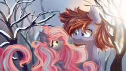 Size: 1264x713 | Tagged: safe, artist:melloncollie-chan, oc, oc:mitra, oc:shadow sky, bat pony, earth pony, big hair, couple, cute, love, mlem, silly, snow, tongue out, tree, winter