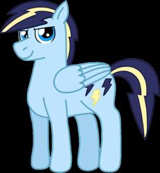 Size: 992x1075   Tagged: safe, artist:kindheart525, oc, oc only, oc:lightning bolt, pegasus, pony, kindverse, offspring, parent:rainbow dash, parent:soarin', parents:soarindash, simple background, solo, transparent background