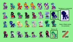 Size: 1400x800 | Tagged: safe, adagio dazzle, ahuizotl, aria blaze, cosmos (character), cozy glow, daybreaker, discord, gloriosa daisy, grogar, king sombra, lord tirek, mane-iac, nightmare moon, nightmare rarity, pony of shadows, queen chrysalis, sci-twi, sonata dusk, sphinx (character), starlight glimmer, storm king, sunset shimmer, tantabus, tempest shadow, trixie, twilight sparkle, wallflower blush, pony, sphinx, pony town, equestria girls, my little pony: the movie, adoragio, ahuidorable, antagonist, ariabetes, clothes, cozybetes, cute, cute-iac, cutealis, daisybetes, diabreaker, discute, flowerbetes, green background, hat, midnight sparkle, midnightabetes, moonabetes, nightmare raribetes, ponified, shadorable, simple background, sombradorable, sonatabetes, sphinxdorable, stormabetes, sunset satan, tempestbetes, the dazzlings, tirebetes, trixie's hat, twiabetes, villains of equestria, wall of tags