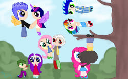Size: 1280x800 | Tagged: safe, artist:loloujelsa, cheese sandwich, discord, flash sentry, fluttershy, pinkie pie, rainbow dash, rarity, soarin', spike, twilight sparkle, human, alicorn humanization, alternate hairstyle, blushing, bush, cheesepie, chibi, clothes, confident, discoshy, dress, eyeshadow, female, flashlight, flight, flying, girly girl, grass, hanging, hanging upside down, happy, holding hands, holiday, horned humanization, humanized, jacket, jeans, kissing, leather jacket, looking at each other, makeup, male, mary janes, overalls, pants, shipping, shoes, shorts, skirt, smiling, sneakers, soarindash, socks, sparity, spiderman kiss, straight, tanktop, tomboy, tree, tree branch, upside down, valentine's day, winged humanization