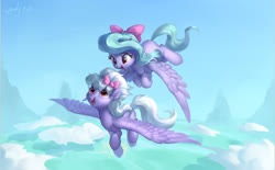 Size: 2400x1490 | Tagged: safe, artist:luciferamon, cloudchaser, flitter, pegasus, pony, bow, cloud, cute, duo, female, flying, hair bow, looking at each other, mare, open mouth, siblings, sisters, sky, spread wings, wings