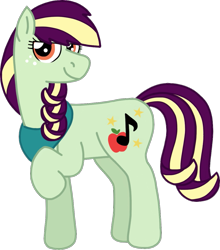 Size: 1041x1183 | Tagged: safe, artist:kindheart525, oc, oc only, oc:pristine melody, earth pony, pony, kindverse, female, filly, magical lesbian spawn, offspring, parent:applejack, parent:coloratura, parents:rarajack, simple background, solo, teenager, transparent background