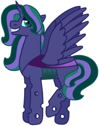 Size: 937x1192 | Tagged: safe, artist:kindheart525, oc, oc only, oc:firefly, alicorn, changepony, hybrid, pony, kindverse, alicorn oc, biography, changeling hybrid, female, interspecies offspring, magical lesbian spawn, mare, next generation, offspring, parent:princess luna, parent:queen chrysalis, parents:chrysaluna, raised hoof, simple background, smiling, smirk, solo, transparent background