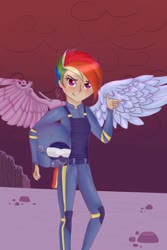 Size: 1280x1920 | Tagged: safe, artist:loloujelsa, rainbow dash, human, alternate hairstyle, alternate timeline, amputee, apocalypse dash, armor, artificial wings, augmented, belt, clothes, crystal war timeline, eye scar, female, finger gun, helmet, humanized, kneepads, pants, prosthetic limb, prosthetic wing, prosthetics, redraw, rock, scar, solo, tailed humanization, winged humanization, wings