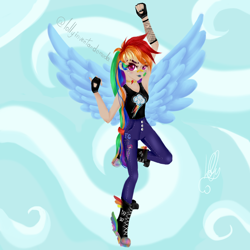 Size: 1024x1024 | Tagged: safe, artist:lollyinventandomoda, artist:loloujelsa, rainbow dash, human, alternate hairstyle, armpits, bandaid, boots, choker, clothes, cloud, converse, element of loyalty, female, fingerless gloves, flying, gloves, humanized, jeans, lipstick, pants, scar, scratches, shoes, sky, solo, tanktop, winged humanization, wings