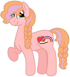 Size: 988x1097 | Tagged: safe, artist:kindheart525, oc, oc only, oc:honeycrisp, earth pony, pony, kindverse, braid, offspring, parent:big macintosh, parent:cheerilee, parents:cheerimac, raised hoof, simple background, solo, transparent background