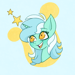 Size: 1300x1300 | Tagged: safe, artist:emiiambar, lyra heartstrings, pony, unicorn, bust, cutie mark background, female, mare, open mouth, portrait, smiling, solo, stars