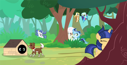 Size: 2050x1057 | Tagged: safe, artist:velveagicsentryyt, winona, oc, oc:apple pie, oc:prisdale, oc:rainbow blitzes, oc:sky city, oc:velvet sentry, hybrid, pony, base used, dog house, female, filly, forest, hide and seek, interspecies offspring, offspring, parent:applejack, parent:caramel, parent:discord, parent:fancypants, parent:flash sentry, parent:fluttershy, parent:rainbow dash, parent:rarity, parent:soarin', parent:twilight sparkle, parents:carajack, parents:discoshy, parents:flashlight, parents:raripants, parents:soarindash, tree, upside down