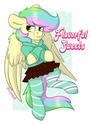 Size: 1380x1881 | Tagged: safe, artist:spoopygander, oc, oc only, oc:flavorful sweets, pegasus, pony, abstract background, badge, clothes, con badge, male, pegasus oc, socks, solo, stallion, striped socks, wings