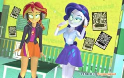 Size: 1125x711 | Tagged: safe, artist:supercasket, rarity, sunset shimmer, equestria girls, barrette, belt, bliss, boots, bracelet, clothes, cutie mark, cutie mark on clothes, female, headphones, hypnosis, hypnotized, implied dazzlings, jacket, jewelry, leather jacket, lidded eyes, music, patreon, poster, shirt, shoes, skirt, smiling, solo, standing, table