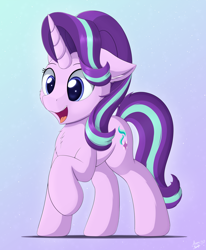 Size: 3300x4000 | Tagged: safe, artist:arcane-thunder, starlight glimmer, pony, unicorn, blue background, cheek fluff, chest fluff, cute, ear fluff, female, floppy ears, glimmerbetes, gradient background, happy, mare, open mouth, raised hoof, simple background, smiling, solo