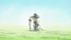 Size: 1920x1080 | Tagged: safe, artist:anonymous, oc, oc only, pegasus, pony, /mlp/, 4chan, clothes, drawthread, field, grass, hat, solo, sword, weapon, wizard hat