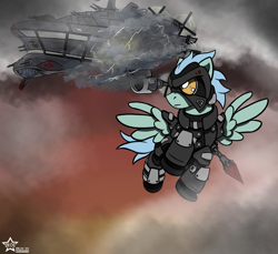 Size: 3000x2750 | Tagged: safe, artist:devorierdeos, oc, oc only, pegasus, pony, fallout equestria, armor, battle saddle, cloud, cloudship, cloudy, enclave armor, enclave raptor, energy weapon, fanfic, fanfic art, flying, grand pegasus enclave, gun, hooves, magical energy weapon, male, power armor, raptor battleship, spread wings, stallion, weapon, wings