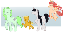 Size: 984x500   Tagged: safe, artist:askmerriweatherauthor, oc, oc only, oc:china saucer, oc:loose leaf, oc:meadow lark (ask merriweather), oc:merriweather, pegasus, pony, unicorn, colt, female, male, mare, mother and child, mother and son, scar