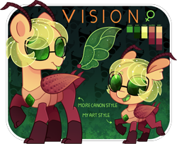 Size: 1659x1350 | Tagged: safe, artist:amberpone, oc, oc only, oc:vision, changeling, digital, digital art, female, glasses, green background, green eyes, mare, paint tool sai, ponysona, reference sheet, simple background, solo, wings