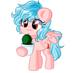Size: 1000x1000 | Tagged: safe, artist:thieftea, cozy glow, pegasus, pony, alternate hairstyle, cactus, chibi, commission, cozybetes, cute, female, filly, potted plant, simple background, solo, transparent background, ych result