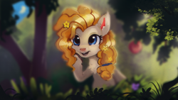 Size: 1920x1080 | Tagged: safe, artist:hierozaki, pear butter, earth pony, pony, blue eyes, female, flower, flower in hair, mare, open mouth, raised hoof, smiling, solo