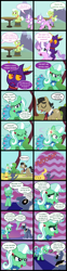 Size: 2000x8059 | Tagged: safe, artist:magerblutooth, diamond tiara, filthy rich, granny smith, oc, oc:aunt spoiled, oc:dazzle, oc:il, oc:peal, cat, earth pony, imp, pony, comic:diamond and dazzle, comic, mountain, table