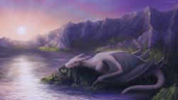 Size: 3456x1944 | Tagged: safe, artist:vampi, oc, oc only, oc:der, oc:deragon, oc:gyro feather, oc:gyro tech, oc:saewin, bird, dragon, griffon, dock, forest, griffonized, lake, lens flare, macro, mountain, mountain range, scenery, species swap