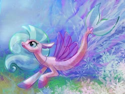 Size: 1280x960 | Tagged: safe, artist:catscratchpaper, silverstream, seapony (g4), coral, female, fins, fish tail, flowing mane, jewelry, necklace, seapony silverstream, seashell necklace, smiling, solo, swimming, underwater, water, wings