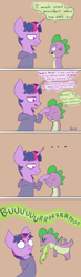 Size: 1000x3411 | Tagged: safe, artist:radioactive nero, spike, twilight sparkle, dragon, unicorn, alternate universe, clothes, comic, dialogue, fire, hoodie, smiling