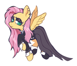 Size: 1333x1138 | Tagged: safe, artist:occultusion, fluttershy, pegasus, pony, fake it 'til you make it, alternate hairstyle, clothes, dress, ear piercing, earring, eyeshadow, februpony, female, fluttergoth, fluttershy is not amused, flying, hoof shoes, jewelry, makeup, mare, piercing, raised hoof, shirt, simple background, skirt, socks, solo, unamused, white background
