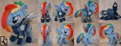 Size: 1280x485 | Tagged: safe, artist:bastler, rainbow dash, pegasus, pony, the cutie re-mark, alternate timeline, amputee, apocalypse dash, armor, artificial wings, augmented, clothes, crystal war timeline, eye scar, female, irl, mare, photo, plushie, prosthetic limb, prosthetic wing, prosthetics, scar, solo, torn ear, wings