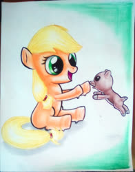 Size: 1062x1354   Tagged: safe, artist:jonathan-c-eastwood, applejack, winona, duo, female, filly, filly applejack, jumping, puppy, sitting, traditional art, younger