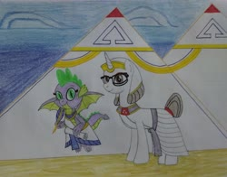 Size: 3611x2836 | Tagged: safe, artist:bsw421, raven, spike, dragon, unicorn, egyptian, female, interspecies, makeup, male, mare, older, older spike, pyramid, ravenspike, shipping, straight, traditional art, winged spike