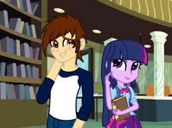 Size: 1033x773 | Tagged: safe, artist:andrestoons, twilight sparkle, oc, oc:andres vargas, equestria girls, andlight, canon x oc, female, male, shipping, straight