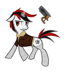 Size: 528x596 | Tagged: safe, artist:priorknight, oc, oc only, oc:blackjack, pony, unicorn, fallout equestria, fallout equestria: project horizons, clothes, fanfic art, female, glowing horn, gun, horn, magic, mare, simple background, small horn, socks, solo, striped socks, telekinesis, transparent background, unicorn oc, weapon