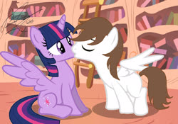 Size: 2048x1433 | Tagged: safe, artist:andrestoons, twilight sparkle, oc, oc:andres vargas, alicorn, andlight, canon x oc, female, golden oaks library, kissing, ladder, male, shipping, spread wings, straight, twilight sparkle (alicorn), wings