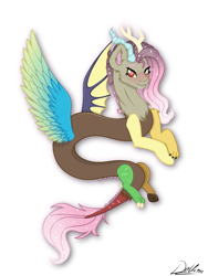 Size: 768x1024 | Tagged: safe, artist:delfinaluther, discord, fluttershy, draconequus, blushing, colored wings, cute, cute little fangs, ethereal mane, fangs, fusion, gradient wings, looking at you, multicolored wings, signature, simple background, smiling, starry mane, white background, wings