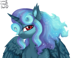 Size: 907x747 | Tagged: safe, artist:unoriginai, oc, oc only, oc:starry knight, alicorn, adoptable, lineless, looking at you, magical lesbian spawn, magical threesome spawn, offspring, parent:cozy glow, parent:princess luna, parent:rainbow dash, parents:cozydash, parents:cozyluna, parents:cozylunadash, parents:lunadash, semi-realistic, simple background, transparent background