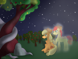Size: 1024x768 | Tagged: safe, artist:delfinaluther, applejack, bright mac, earth pony, ghost, pony, apple, apple tree, applejack's hat, cheek fluff, chest fluff, cowboy hat, crying, ear fluff, father and child, father and daughter, female, hat, hoof on shoulder, intertwined trees, leg fluff, male, mare, night, pear tree, shadow, sitting, smiling, spirit, stars, tree