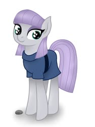 Size: 768x1024 | Tagged: safe, artist:delfinaluther, boulder (pet), maud pie, earth pony, pony, cute, female, looking at you, mare, maudabetes, rock, simple background, smiling, standing, when she smiles, white background