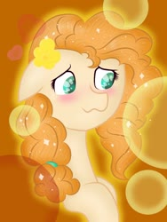 Size: 768x1024 | Tagged: safe, artist:delfinaluther, pear butter, earth pony, pony, :3, blushing, bust, cute, female, floating heart, floppy ears, flower, flower in hair, heart, looking sideways, mare, orange background, pearabetes, portrait, simple background, solo, sparkling mane, three quarter view