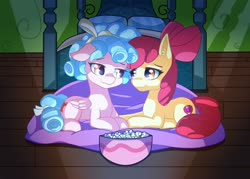 Size: 1920x1372 | Tagged: safe, artist:suziouwabami, apple bloom, cozy glow, earth pony, pegasus, pony, bed, bedroom, blanket, bow, bowl, cozybloom, female, food, lesbian, lights out, looking at each other, popcorn, prone, shipping, smiling, spotlight