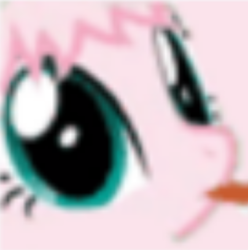 Size: 496x501 | Tagged: safe, artist:mixermike622, edit, oc, oc:fluffle puff, earth pony, pony, blurry, cropped, licking, solo, tongue out, upscaled
